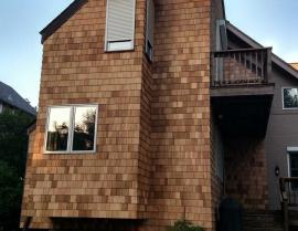 western red cedar siding shingles - 1 RR Clear Stain After 1 270x209